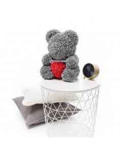 Grey Rose Teddy Bear 45 CM – 18 Inch – Oti Rose Bears - Rose Teddy Bears - Flower Teddy Bears